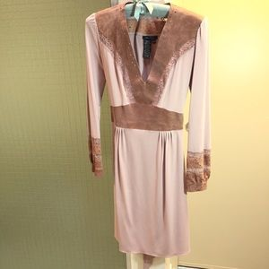 BCBGMaxAzria Blush Dress with Leather Trim